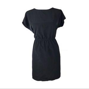 ASOS dress 6 short sleeve gathered waist black
